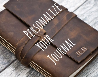 50% OFF - Personalized Leather Journal Notebook or Sketchbook | Rustic Brown, Saddle Tan, Dark Brown