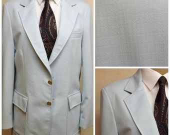 Vintage 80s Pale Blue Cotton Mens Sport Coat or Blazer  Size 38 S