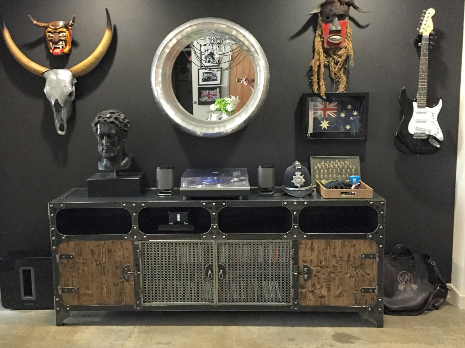 Metal And Wood Media Console | Vintage Industrial HiFi Record Player Retro  Furniture | TV Steel
