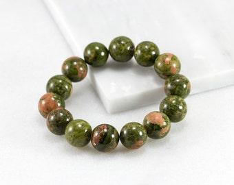Unakite Bracelet/ 8mm Bead Bracelet/ Jasper Bracelet/ Unakite Jasper/ Green Bead Bracelet