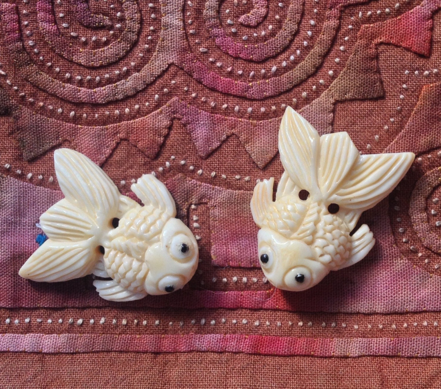 Smaller hand carved bone koi fish bead 1 inch for Koi fish beads