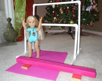 """6 PIECE Gymnastics set for 18"""" American Girl Doll Balance Beam, Parallel Bars, Mat, and 2 Gold Medals McKenna"""