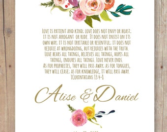 "Rustic Garden 1 Corinthians 13 Love is Patient Bible Verse Personalized  Print with NAMES Wedding Anniversary Gift 8,5"" x 11"""