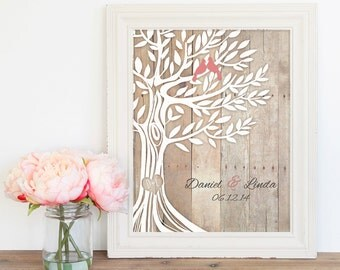 Engagement Wedding Gift, Love Birds in Tree, Newly Weds Gift Family Tree Art, Names Wedding Date, Poster 8,5''x11''