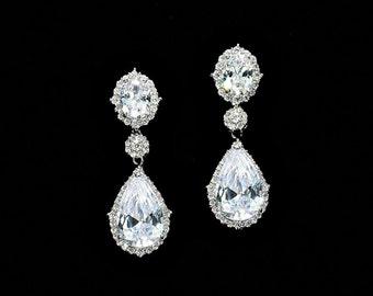 Crystal teardrop earrings, bridesmaid earrings, cubic zirconia earrings ,diamond bridal jewelry