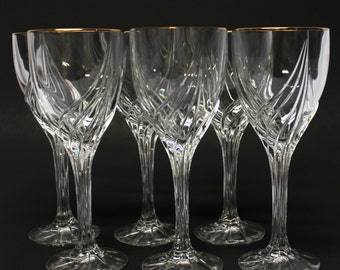 6 Lenox crystal wine glasses with gold rim Debut pattern
