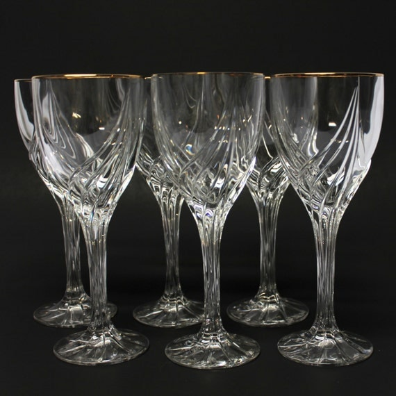 6 lenox crystal wine glasses with gold rim debut pattern - Lenox gold rimmed wine glasses ...
