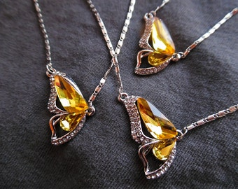 Silver and Yellow Butterfly Necklaces