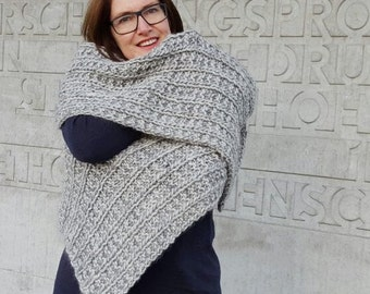 scarf with mohair and silk, grey, chunky scarf, knitted scarf, wool scarf