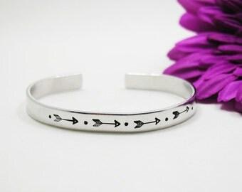 Arrow Bracelet Cuff - Custom Bracelet Cuff - Personalized Bracelet - Custom Cuff - Handstamped Cuff - Aluminum Cuff - Custom Bracelet