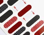 Polka Dot and Bows Glitter Vinyl Nail Wrap, Sparkles, Red and White Polka Dots