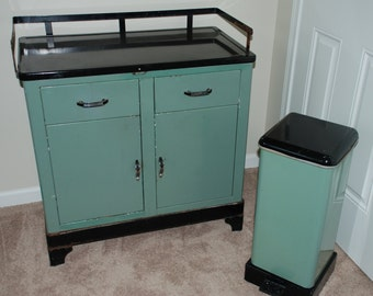 Mid Century Medical Cabinet and Matching Trash Can