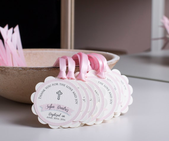 Baptism Favor Tags Girl First Communion Favors Baptism Favors Christening Favor Tags Gift Tags Thank You Tags