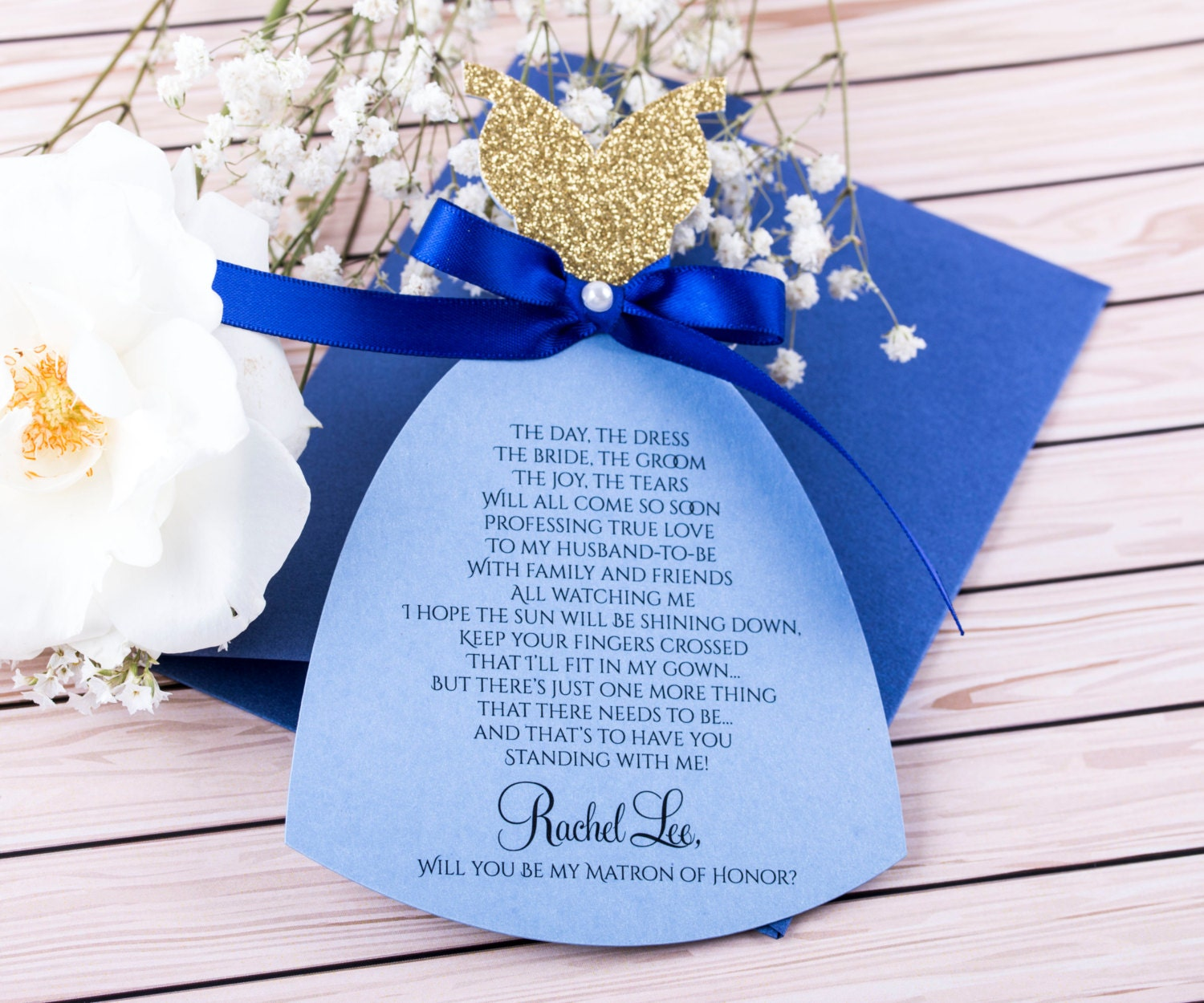 Royal Blue Wedding Invitation Cards: Royal Blue And Gold Bridesmaid Invitation. Will You Be My