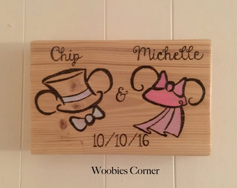 Disney wedding sign, personalized disney sign, WOOD BURNED sign, Disney Wedding Decor, Disney wedding gift, Bride and groom wedding sign