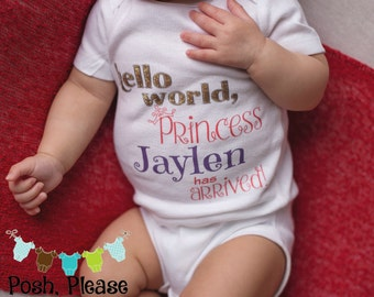 Hello World OnePiece Outfit Newborn Girl Take Home Outfit Hello World Baby Girl Outfit Newborn Girl Coming Home Outfit Baby Shower Gift