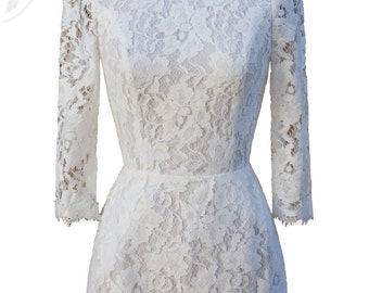 Allegra Lace Backless Vintage Inspired Dress Long //White //Long Sleeve