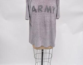 vintage tshirt super soft insane see through burner burnout ARMY t-shirt