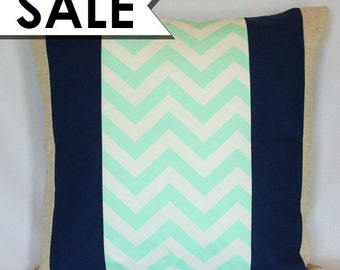CLEARANCE: Mint Green Chevron Pillow Cover 20 x 20 Inches - Mint Green Chevron with Navy Panels