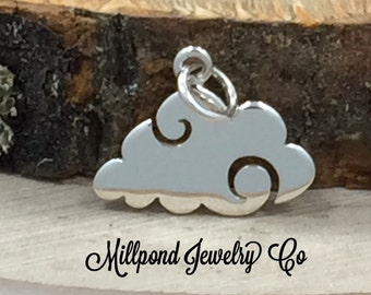 Cloud Charm, Flat Cloud, Sky Charm, Rain Cloud, Weather Charm, Sterling Silver Charm, Sterling Silver Pendant, PS01423