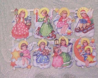 Vintage Christmas angel stickers gummed seals uncut made in England