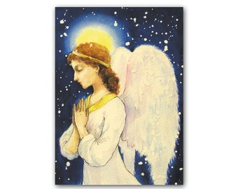 Guardian angel greeting card Christmas card Angel illustration Religious art Art for Kids Nursery wall decor