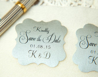 Metallic Silver Printed Save The Date seals. Custom printed Wedding stickers. personalised Pearlised Envelope seals. Vintage Wedding favours