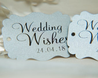 Silver Custom Wishing Tree Tags. Wedding Wishes with date. Metallic Wedding cards. Rectangle printed favour tags. Pearlised card gift tags