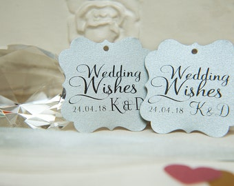 Custom Wishing Tree Tags. Wedding Wishes with Initials and date. Metallic Silver Wedding cards. Square printed favour tag. Wedding Guestbook