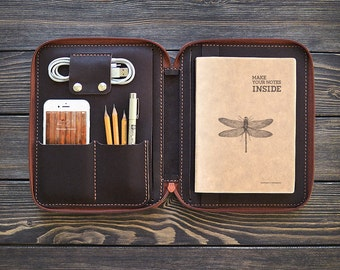 iPad mini Leather case. Zipper leather folio. Handmade iPad case