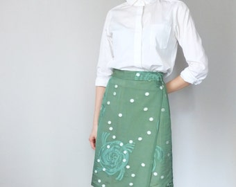 limited edition embroidered abstract flourish print wrap skirt