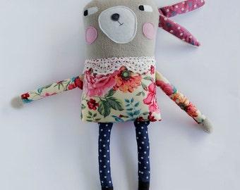Quirky Bunny Rabbit Fleece and Felt Plush Softie - Gift for girls, baby nursery decor - FREE SHIPPING
