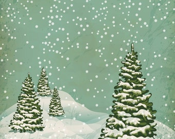 Snow Falling On Christmas Trees Backdrop / Holiday Photo Background (FD9083)