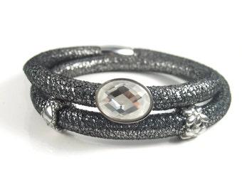 Silver Leather Charm Bracelet, Nappa Leather Bracelet, Womans Bracelet, Silver Charm Bracelet, Leather Charm Bracelet, Removable Charms