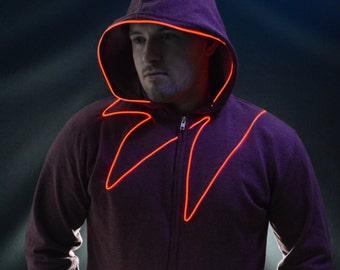 Light up hoodie Led Hoodie with EL wire By NEO LUX -Vigilante- (led hoodie, light up clothing, edm jacket , edm hoodie, Burning Man hoodie )