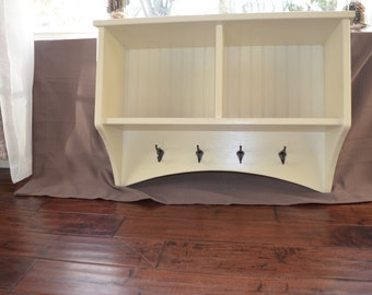 Entryway Cubby Storage Shelf with Coat Hooks -- Antique White with Oil Rubbed Bronze Hooks