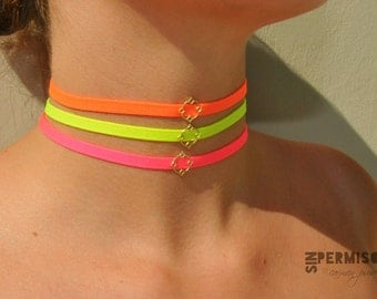 Neon color choker,neon pink choker,neon yellow choker,neon orange choker