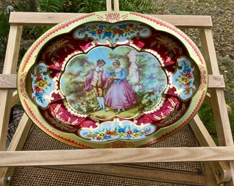 Daher Decorated Ware oval scalloped tray with Victorian courting scene