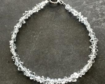 Herkimer Diamond bracelet in sterling silver (petite stones)