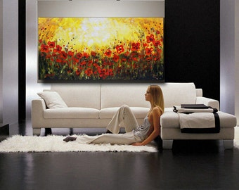 Original Art Abstract Painting Red Flowers Poppies Large Art Acrylic Wall Art Textured Palette Knife . Canvas ready to hang