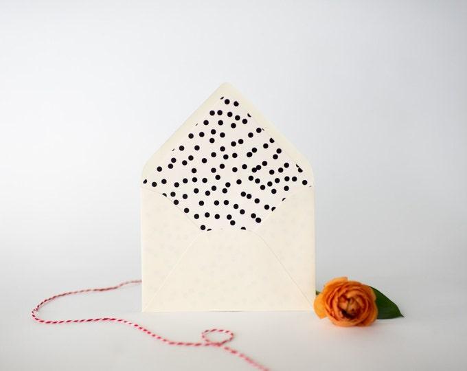 confetti dot lined envelopes (20 color options) - sets of 10