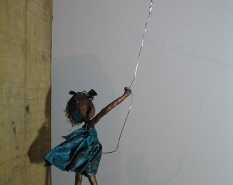 Kite Flyer -  Girl with kite.  Made to order