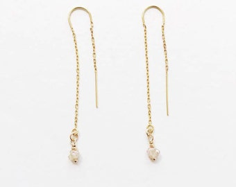 Rock Quartz Gold Threader Earrings