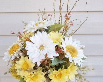 Home Decor, Silk Floral Arrangement, Floral Decor, Tropical Flowers, Center Piece, Table Arrangements, Daisies, Sunflowers