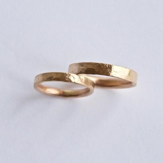 Rose Gold Wedding Ring Set - Distressed Texture - 18 Carat