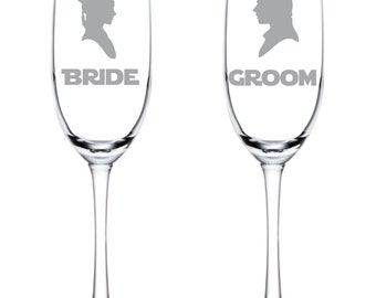 Star Wars Wedding Flutes - Bride and Groom - I Love You I Know - Glasses - Glassware - Han Solo - Princess Leia - Han & Leia