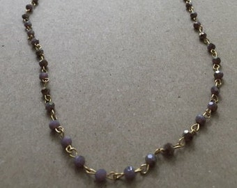Heavy Layering Necklace with Mauve Beads