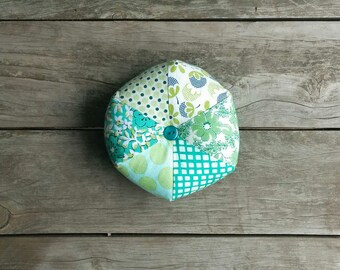 Green Hexagon Pin Cushion - Sewing Pin Cushion