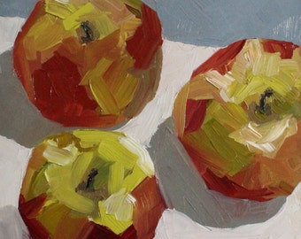 Three Macs No. 2 - kitchen wall art - still life oil painting - apple painting - apple art - foodie gifts