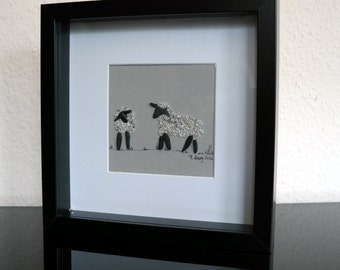 Image from pebbles - kind of Pebble - Stork, framed